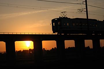 夕陽を走る