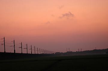 ほくほく線の夕焼け