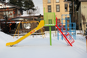 冬の遊園地